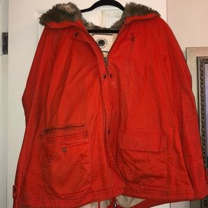 Anthropologie Cape Toggle Utilty Fur Hooded Coat